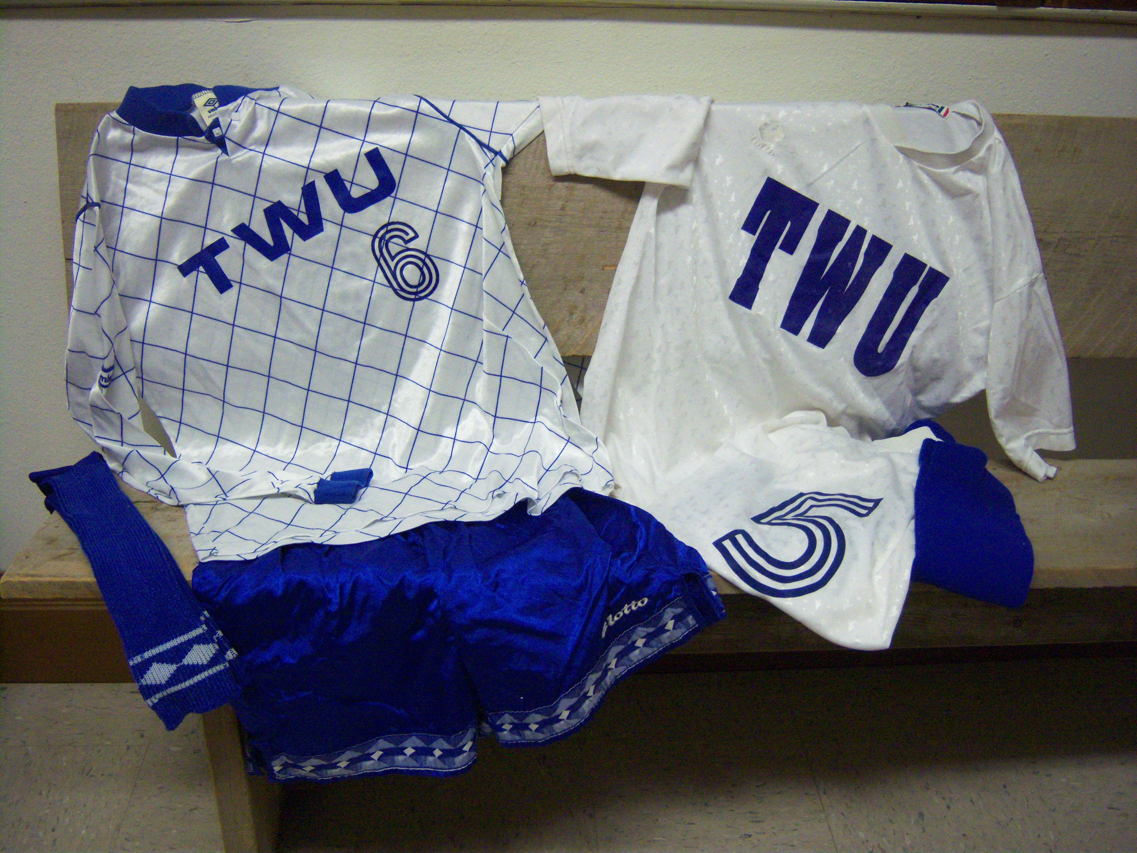 White and Blue Soccer Uniforms
